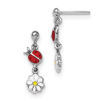 Sterling Silver Rhodium Plated Child Enamel Ladybug/Daisy Earrings QE11237