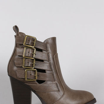 Wild Diva Lounge Almond Toe Buckled Strap Booties
