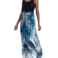 Navy Combo Crochet & Geometric Print Maxi Dress by Charlotte Russe