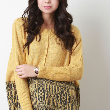 Half Patterned Boxy High-Low Sweater
