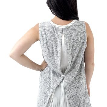 Women's Sleeveless Striped Henley Tunic with Contrast Back