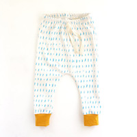 baby leggings // Organic baby leggings in blue dash print // baby joggers //  drop crotch pants // toddler leggings // harem pants