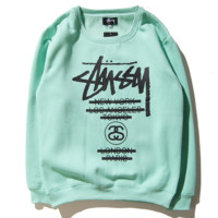 STU classic Stussy parade couple sweater color sweater men and women with the same paragraph round neck head Green