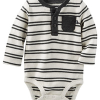 Striped Thermal Henley Bodysuit