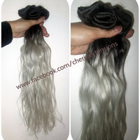 1B Off Black Silver Grey Hair Extensions Dip Dye 8A Remy Ombre Balayage Human Full Head Weft