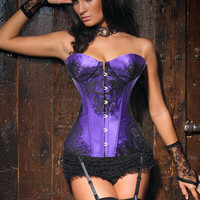 Purple Floral Lace Patch Sweetheart Neckline Corset