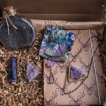 AMETHYST GIFT BOX - Gift Set - Amethyst Birthday Gift Christmas Gift Bridesmaid Gift Gifts for Her Jewelry Set Crystals Fluorite Point Gypsy