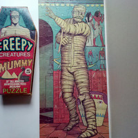Rare Vintage HG Toys Inc Creepy Creatures Egyptian Mummy Collectable Monster Lg 20in tall Jigsaw Puzzle 100 pcs Ex Cond w Original Crypt Box