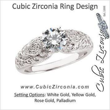 Cubic Zirconia Engagement Ring- The Kanetra (0.5 or 1.0 Carat Round Cut 11-stone with Filigree and Hand-engraved Band)