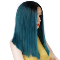 Ombre Blue and Dark Green Straight Wig  Natural Hair Synthetic Lace Wig