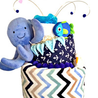 Diaper Cake Nautical Ahoy it's a Boy Ocean and Octopus Baby Shower Cake