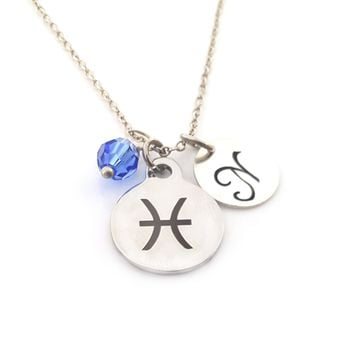 Pisces - Zodiac Charm - Personalized Sterling Silver Necklace