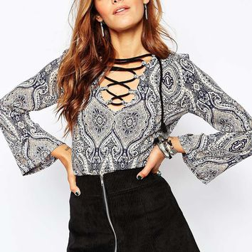 Daisy Street | Daisy Street Blouse With Lace Up Font at ASOS