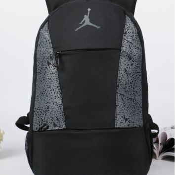 AIR JORDAN Prined Canvas Large Backpack College School Bag Travel Bag Daypack