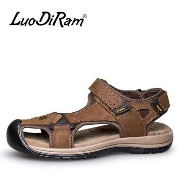 Men Beach Sandals Casual Summer Men Leather Sandals Slippers