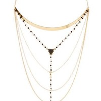 Layered Chain Necklace with Beads & Charm by Charlotte Russe