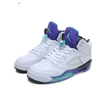 Air Jordan 5 Retro Grape White/New Emerald-Grape-Ice Blue AJ5 Sneakers