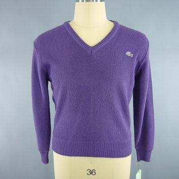Vintage 1980s Izod Sweater / Lacoste Sweater / Men's Sweater / Preppy 80s Purple V-Nec