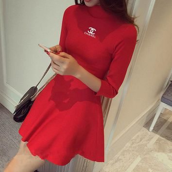 Chanel Women Temperament Fashion Simple Knit Bodycon Show Thin Middle Sleeve Half Turtleneck Mini Dress