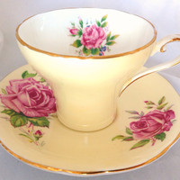 Yellow Pink Rose Aynsley English Fine Bone China Floral Vintage Teacup & Saucer Set - pink roses pale yellow pastel - painted cup