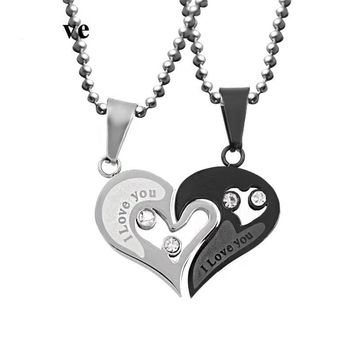 """I Love You"" Heart Paired Pendant Necklace"