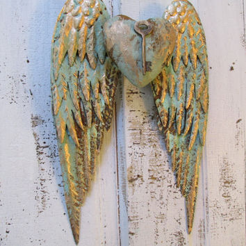 Angel wings wall decor with key, heart shabby chic rusty metal custom paint in sea foam mix Anita Spero