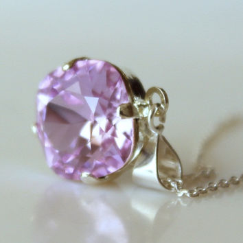 Violet Necklace Swarovski Cushion Cut Square Necklace Rhinestone Necklace Square Rhinestone Bridesmaid Necklace