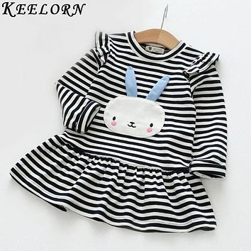 Keelorn Girls Dress 2017 New Style Children Clothing Long Sleeve Cute Rabbit Lace Strip Design baby girl clothes 3-7Y