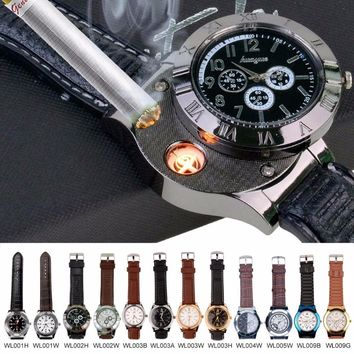 2017 Hot Luxury Brand Top Casual USB Rechargeable Women Watch Men's Sports Military Quartz-watch with Flameless Cigar Lighter 50