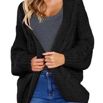 Fashion Black Chunky Wide Long Sleeve Knit Cardigan