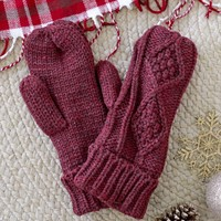 Winter Wonders Mittens - Burgundy