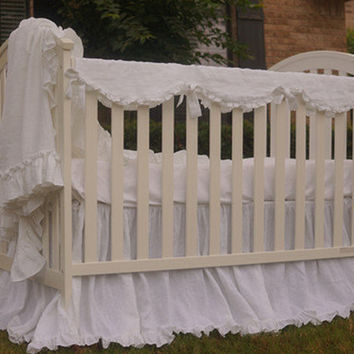 Ruffled Washed Linen Crib Rail Guard, Linen crib rail guard, rail cover for crib, bumperless, princess crib bed skirt