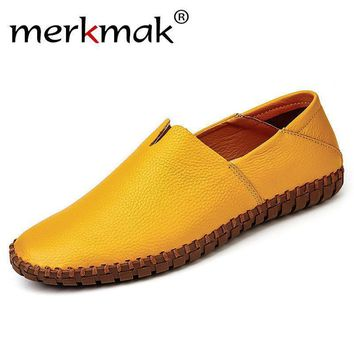Merkmak Men's Loafer Shoes 2017 Fashion Genuine leather Handmade Flats Moccasins Cow L
