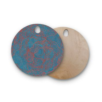 "Patternmuse ""Mandala Teal"" Red Blue Round Wooden Cutting Board"
