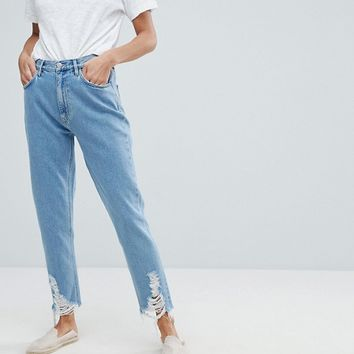 Mih Jeans Mom Jeans With Ladder Distressed Hem at asos.com