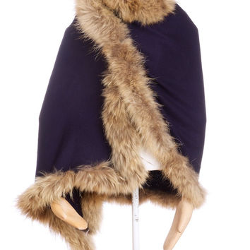 Copy of Cashmere Fur Trimmed Scarf Navy