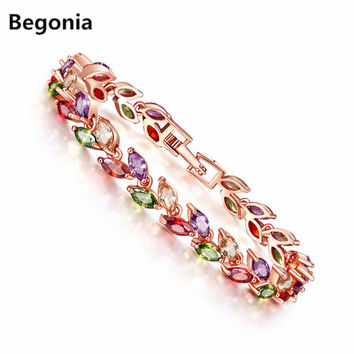 Begonia Fashion Water Drop Multicolor Cubic Zirconia Bracelet for Women Rose Gold  Color Bracelets Snake Chain Jewelry