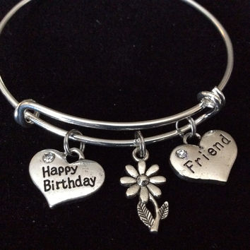 Custom Happy Birthday Friend Silver Expandable Bracelet Adjustable Wire Bangle One Size Fits All Trendy Custom Handmade in USA Stackable