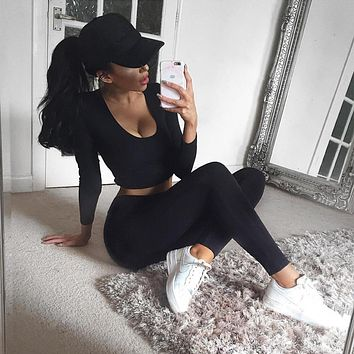 2 piece set women suit outfit crop hoodie set sweatpants crop top legging set feamle winter sweatshirt pants two piece set S0967