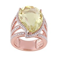 Lemon Quartz & White Topaz Pink Rhodium-Plated Sterling Silver Teardrop Halo Ring (Yellow)