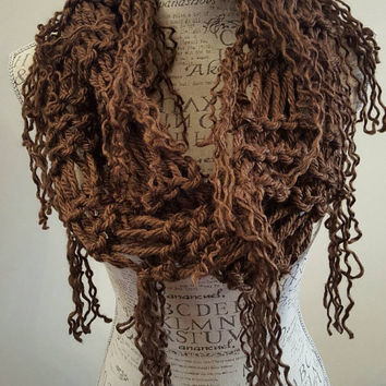 Knit Ramen Cowl. Chocolate brown scarf.  Made by Bead Gs on ETSY. Infinity scarf.