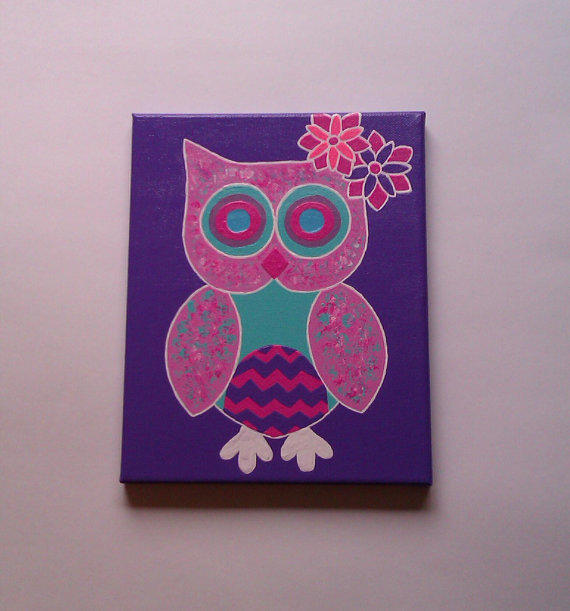 Pink Owl Acrylic Canvas Painting For Baby From StarrJoy16
