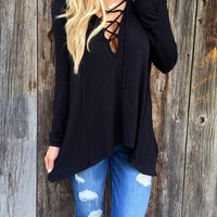 Gia Lace Up Hoodie