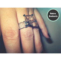 Hollow Diamond Geometric Beaded Ring (Custom Sizing)