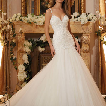 Blu by Mori Lee 5467 Drop Waist Lace Fit & Flare Wedding Dress – Off White by Bridal Expressions