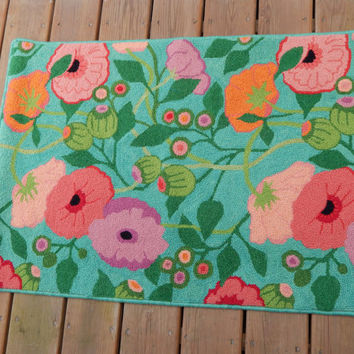 "Fiber Art: Hand-hooked rug, wall hanging, wool tapestry, pink, orange poppies, green leaves, turquoise blue background, measures 27"" x 39"""