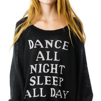 Wildfox Couture Dance All Night Pfeiffer Sweater Clean Black