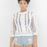 CHANTILLY SHEER TOP - WHITE