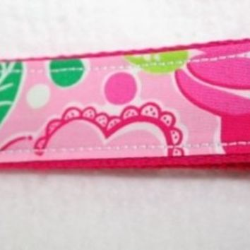 Wristlet Key Chain Fob Lilly Pulitzer fabric Lucky In Love