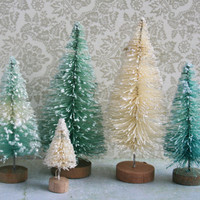 Aqua, Teal Blue and Cream Glittered Vintage Style Bottle Brush Village Trees - Christmas Village Decorations